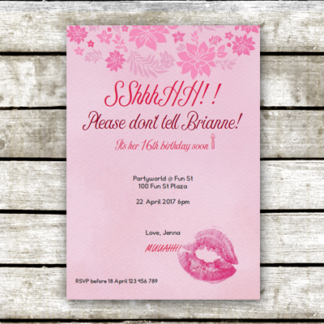 Our Lips Are Sealed: Rose Romance Surprise Party Invitation