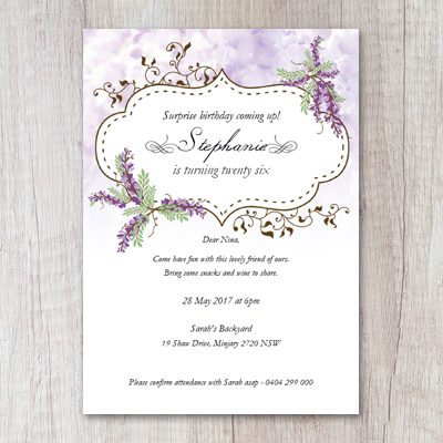 Secret Garden Wisteria Surprise Party Invitation