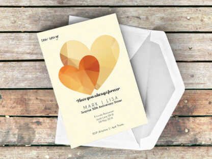 Jewel Heart Gold Invitation with Envelope