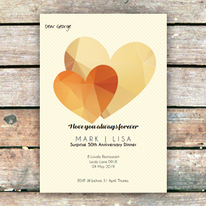 jewel heart gold invitation