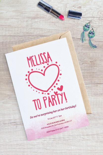 cute big heart party invitation example