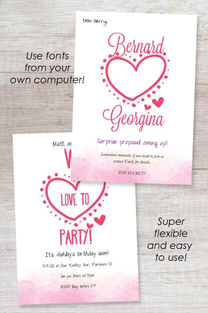 cute pink big heart invitation alternative designs