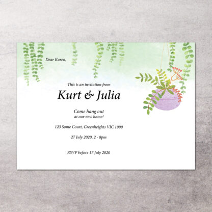 thumbnail of hanging plant housewarming invitation