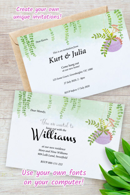 examples showing housewarming invitations featuring hanging plants