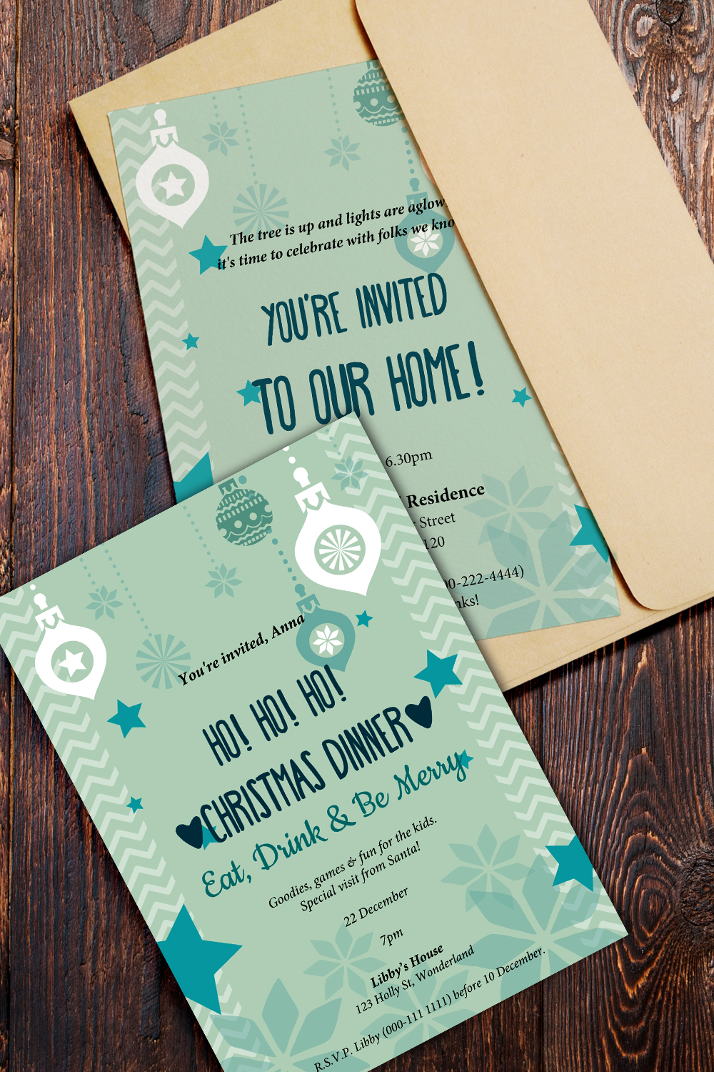 invitations Christmas ornaments design in two variations