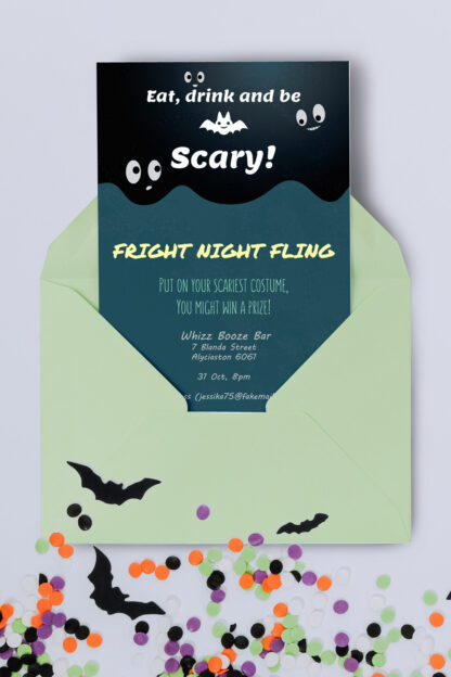 scary theme envelope with halloween confetti