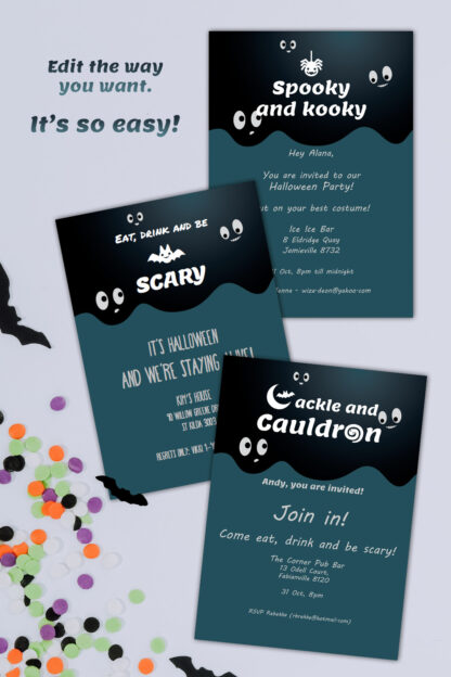 a variety of Halloween invitation examples