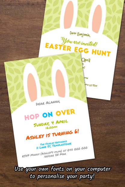 variations of spring green easter bunny ears invitations