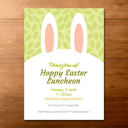 thumbnail of spring green easter bunny ears invitation