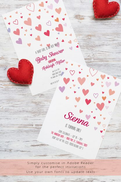 sample little sweet heart invitations with felt hearts decoration
