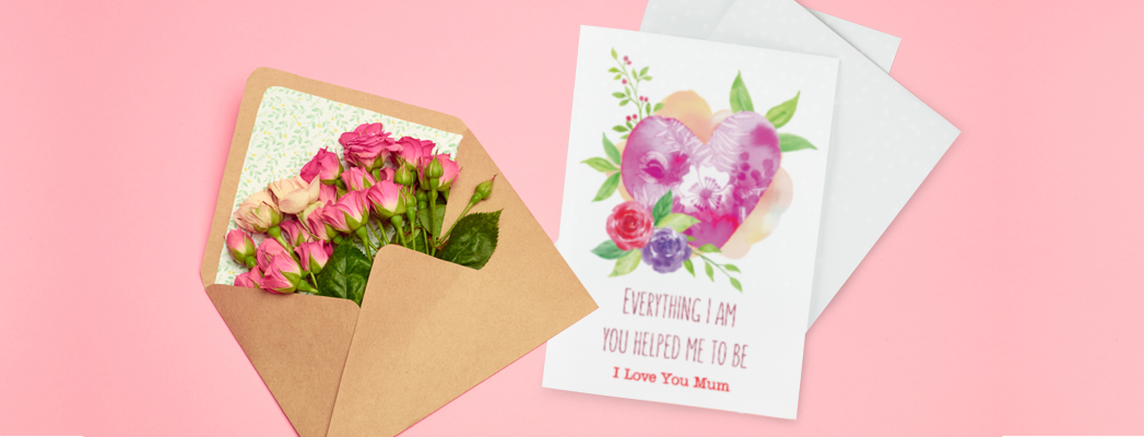 featured image mother's day card with envelope filled with pink roses