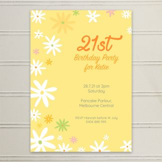 thumbnail for Flower Power Daisies birthday invitation