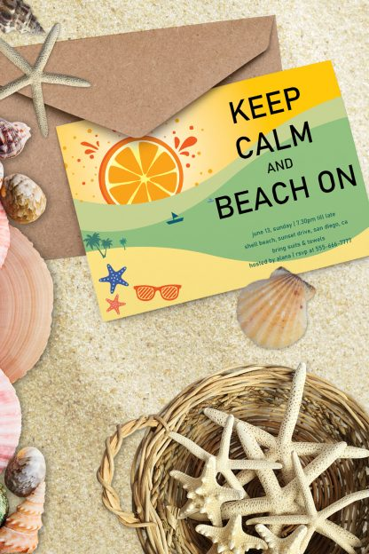 orange sunset sky party invitation flat lay with shells and star fish