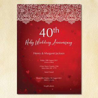 vintage lace 40th wedding anniversary invitation thumbnail