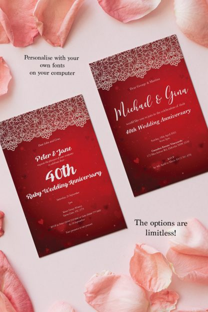 two editions of ruby wedding anniversary invitation, card placed amongst flower petals