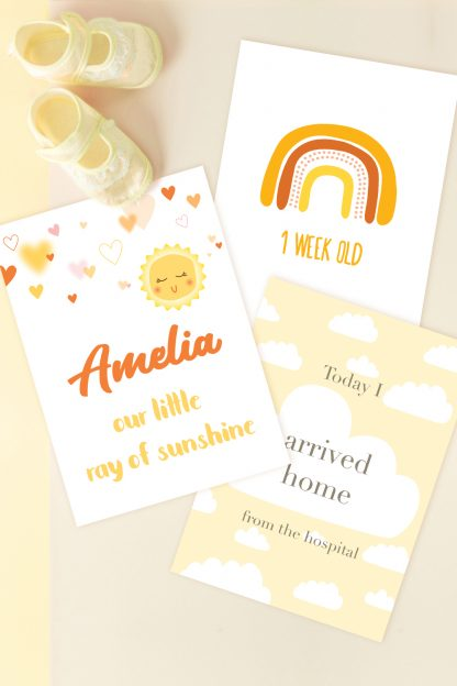 sample images for sunshine printable baby milestone cards