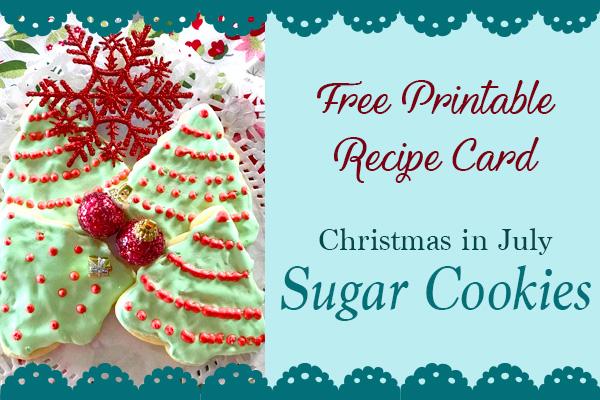 free christmas recipe card sugar cookies printable